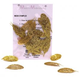 Mini iron-on glitter leaf patch - gold