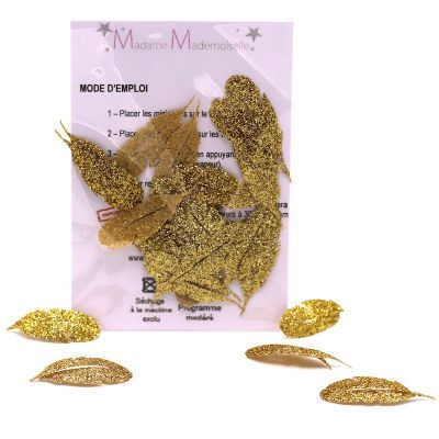 Mini iron-on glitter leaf patch - gold