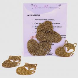 Mini iron-on glitter fox patch - gold