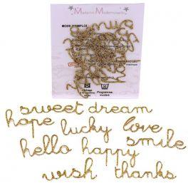 Mini Opstrijkbare glitter woorden - goud