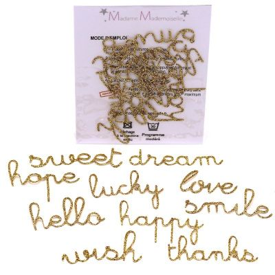 Mini iron-on glitter words patch - gold
