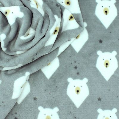 Minkee fabric with bears - grey