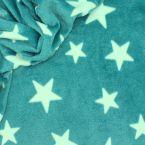 Tissu Minkee turquoise motif étoile