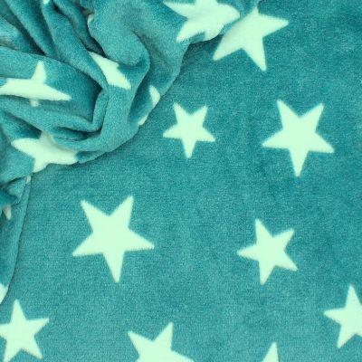 Velours Minkee turquoise motif jacquard