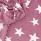 Tissu Minkee rose motif étoile