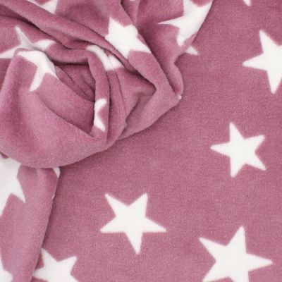 Minkee fabric with stars - pink