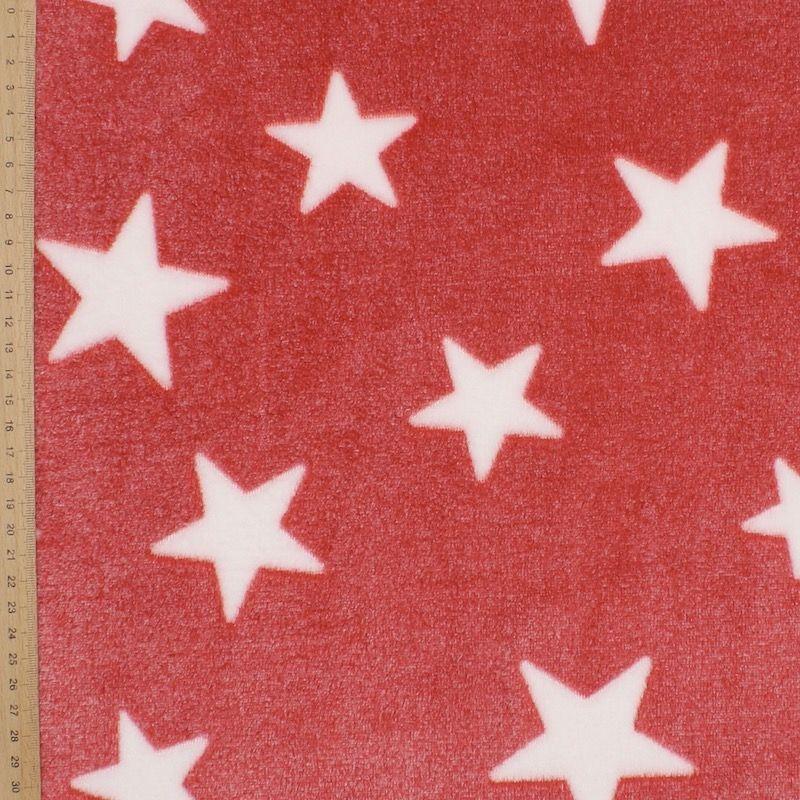Minkeestof met sterren - rood