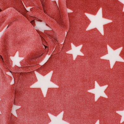 Minkee fabric with stars - red