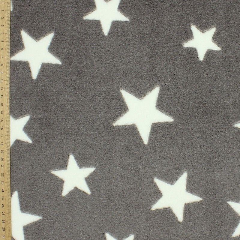 Velours Minkee gris motif jacquard