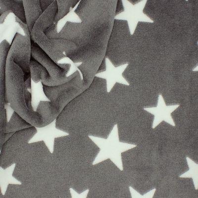 Minkeestof met sterren - grijs
