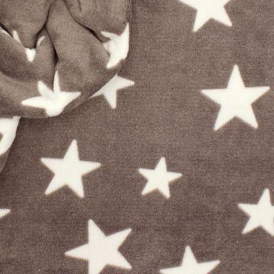 Minkee fabric with stars - taupe