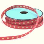 Jacquard ribbon with golden dots - coral