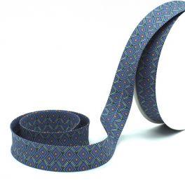 Printed bias binding - steel blue background