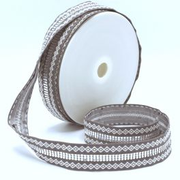 Double jacquard braid trim - light grey