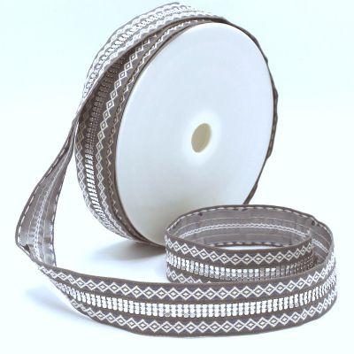 Galon double jacquard gris clair