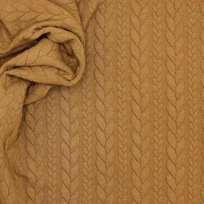 Tissu jersey  à motif torsade camel