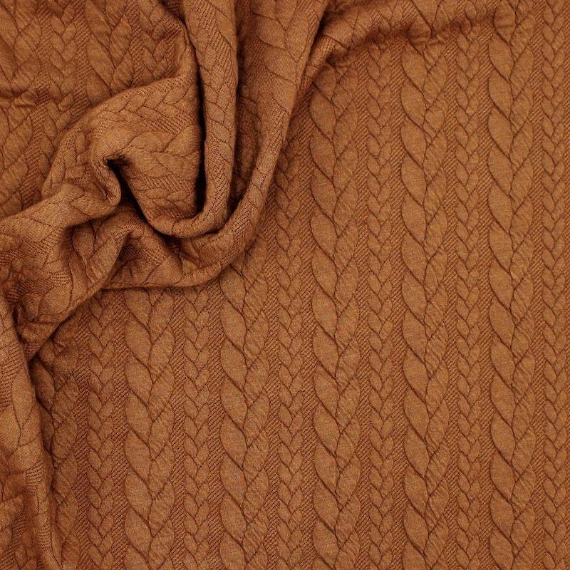 Tissu jersey  à motif torsade rouille