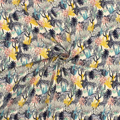 Tissu en coton imprimé girafe et zèbre