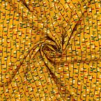 Tissu viscose moutarde à motif végétal