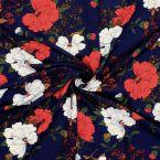 Tissu viscose marine à motif floral