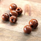 Round button faux wood - brown