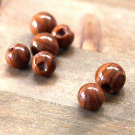 Bouton rond brun imitation bois