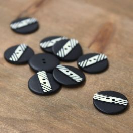 Resin button 23mm - black and silver