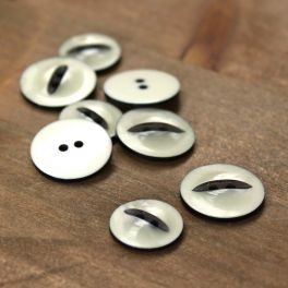 Button - pearly off white and black