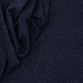 Wool fabric with herringbone pattern - navy blue