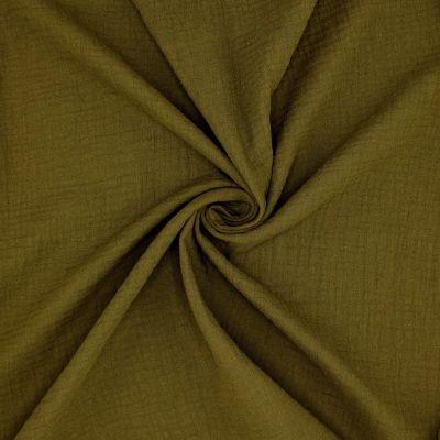Tissu double gaze de coton vert bronze