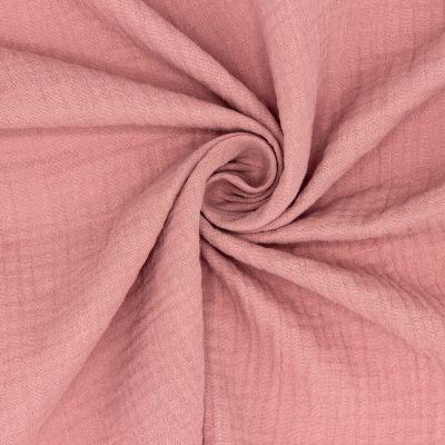 Tissu double gaze de coton rose thé