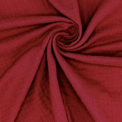 Tissu double gaze de coton grenat