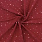 Dubble cotton gauze with golden dots - garnet red