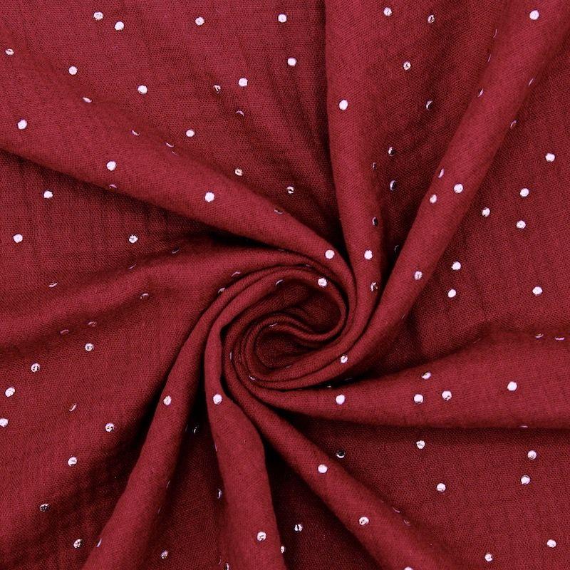 Dubble cotton gauze with golden dots - garnet red