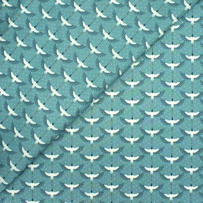 Coated cotton with ducks - nile blue