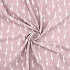 Double cotton gauze with giraffe - pink