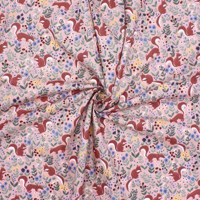 Tissu en coton rose à motif d'écureuil