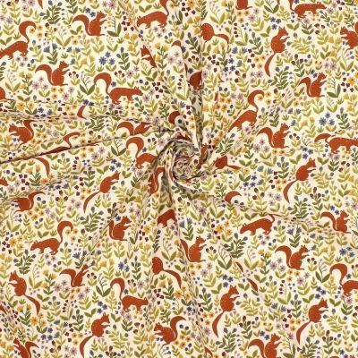 Tissu en coton blanc à motif d'écureuil