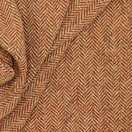 Woolen fabric with herringbone in brown and black
