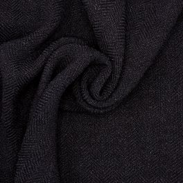 Fabric with curls and herringbone pattern - black