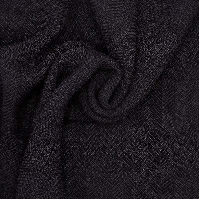 Fabric with curls and herringbone pattern - black