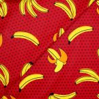 Coated cotton with bananas - red background