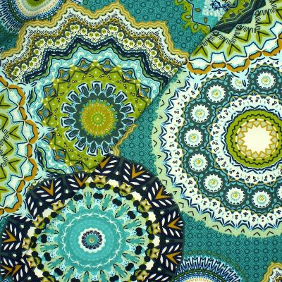 Coated cotton with mandalas - turquoise