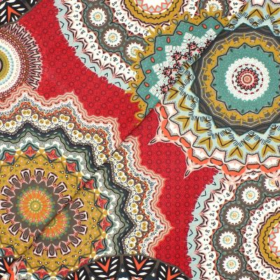 Coated cotton with mandalas - red