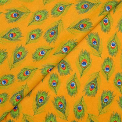 Coated cotton with peacock feathers - ochre