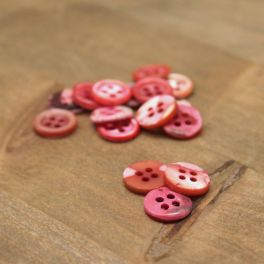 Resin button pearly effect - pink