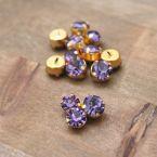 Vintage button - purple and golden metal