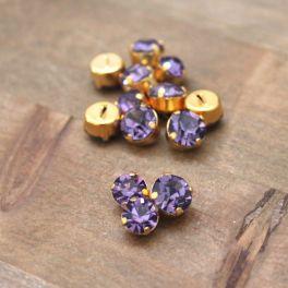 Bouton vintage violet et métal doré