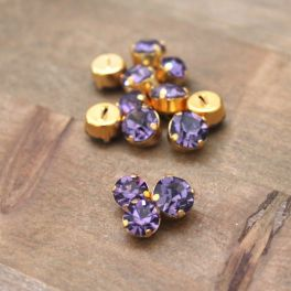 Vintage button - purple and golden metal