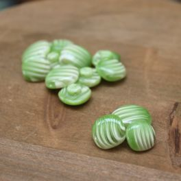 Rectangle resin button - green and white